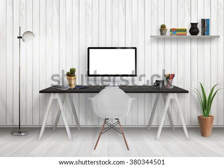 Modern office interior with computer on desk, plants, lamp, chair, shelf, books, wooden wall and floor. - stock photo