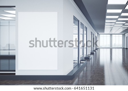 Modern office interior with empty billboard and city view. Mock up, 3D Rendering