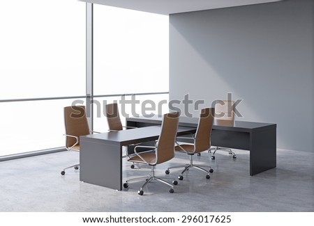 Modern office interior with huge windows and copy space panoramic view. A concept of CEO workplace. 3D rendering.