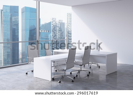 Modern office interior with huge windows and Singapore panoramic view. White leather on the chairs and a white table. A concept of CEO workplace. 3D rendering. - stock photo