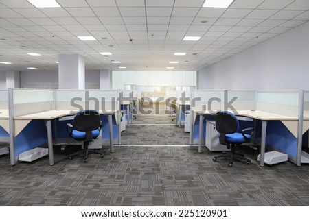modern office interior with table and desk