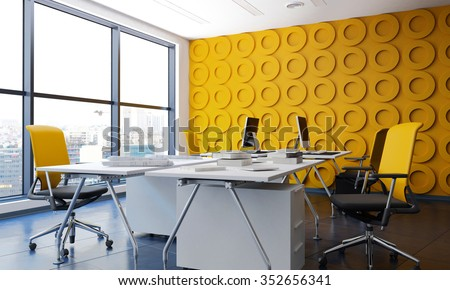 Modern office interior with yellow funishing. 3d Rendering.
