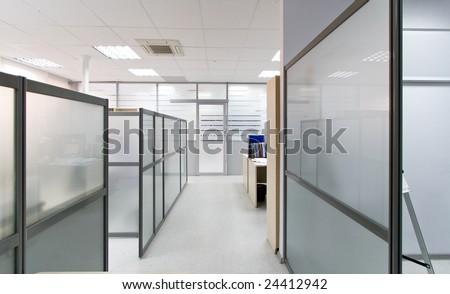 Modern office interior, work area - stock photo
