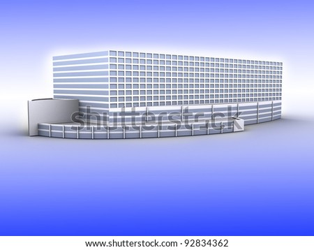 Modern office on white background, 3D render.