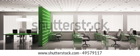 Modern office panorama with computers interior 3d render - stock photo