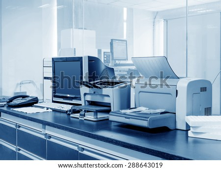 Modern Office, PC, printers and copiers and other equipment. - stock photo