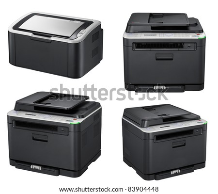 Modern office printers isolated on the white - stock photo