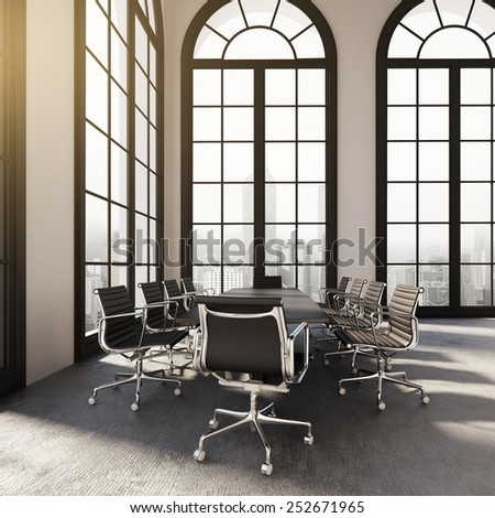 Modern office room interior. 3d rendering - stock photo