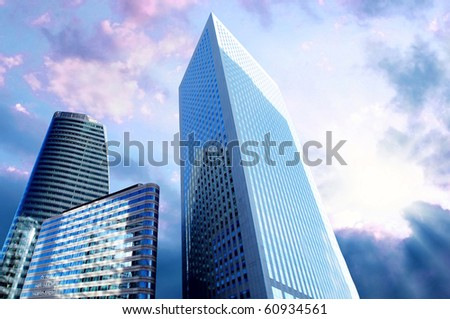 Modern office  Skyscrapers on the sunny beautiful sky
