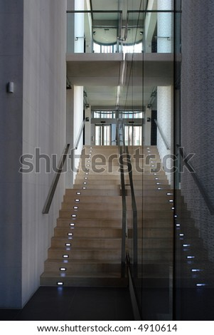 Modern office staircase with illuminated steps