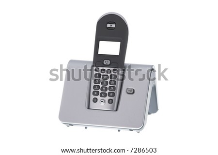 Modern office wireless telephone on white background