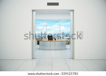 Modern office with city view from the lift entrance 3D Render - stock photo