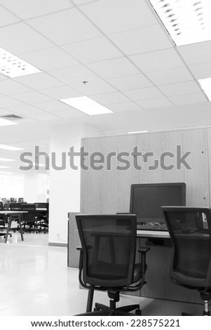 modern office with computer on table work - stock photo