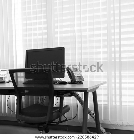 modern office with computer on table work