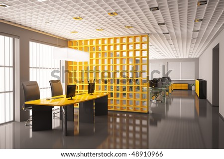 Modern office with computers interior 3d render - stock photo