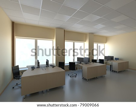 Modern office with computers interior 3d render