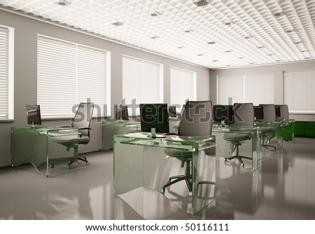 Modern office with glass tables interior 3d render - stock photo