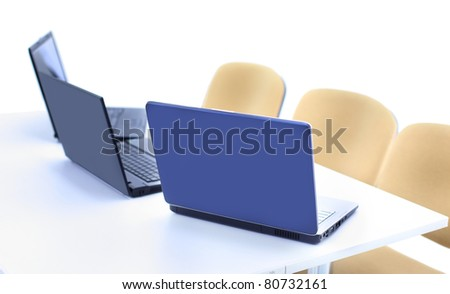 Modern office with laptop interior - stock photo