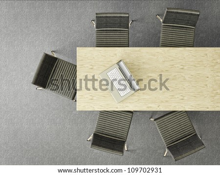modern office with notebook on a table - stock photo