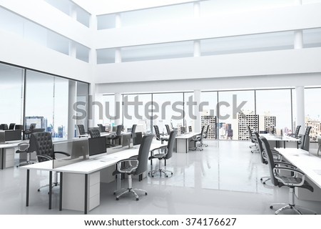 Modern office open space large windows stockfoto lizenzfrei