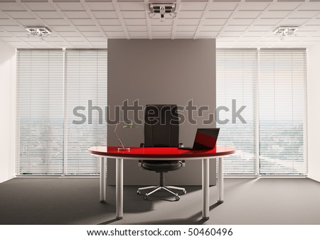 Modern office with red table interior 3d render - stock photo