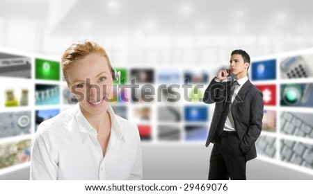 Modern office with woman and businessman over tv screen wall [Photo Illustration]