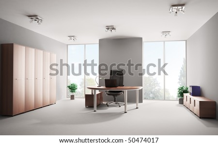 Modern office with wooden furniture interior 3d - stock photo