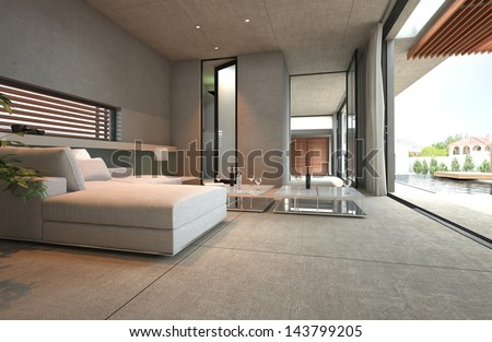 Modern open living room with couch and patio view - stock photo