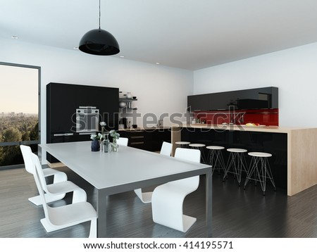 Modern open-plan apartment interior with a stylish contemporary dining table and chairs, center island with bar stools and fitted appliances. 3d rendering - stock photo