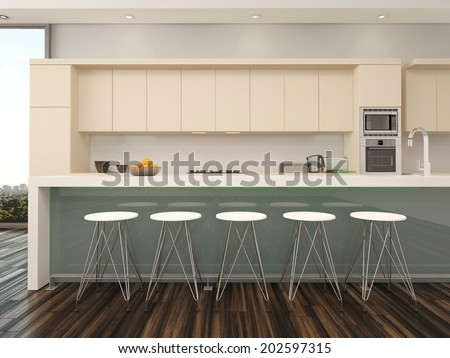 Modern open plan apartment kitchen interior with a counter with bar stools and wooden wall mounted cabinets painted cream alongside a view window - stock photo