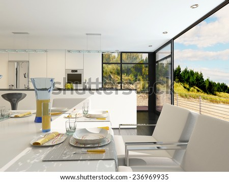 Modern open-plan dining area with stylish place settings on a contemporary table with metal framed upholstered chairs, panoramic view windows and a kitchen area with fitted appliances. 3D Rendering.  - stock photo