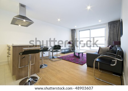 Modern open plan living area and kitchen - stock photo