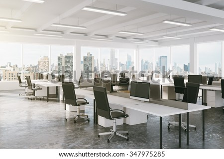Modern open space office with city view 3D Render - stock photo