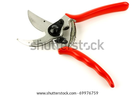 modern opened garden shears on a white background - stock photo