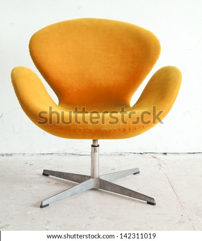 modern orange Chair contemporary style in vintage room - stock photo