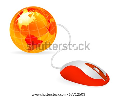 modern orange computer mouse connected to a orange globe on white - stock photo