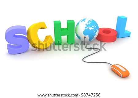 modern orange computer mouse connected to the colourful and jumbled word School - letter O is replaced by a blue globe - stock photo