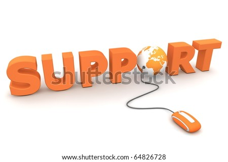 modern orange computer mouse connected to the orange word Support - a globe is replacing letter O
