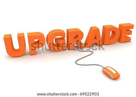 modern orange computer mouse connected to the orange word Upgrade - stock photo