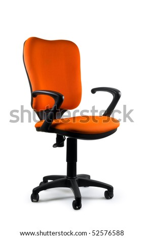 Modern orange swivel chair isolated on white. Isolated path included. - stock photo