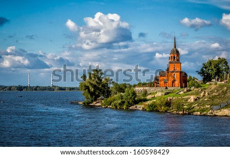 Modern Orthodox chapel on the Dneiper River in Ukraine - stock photo