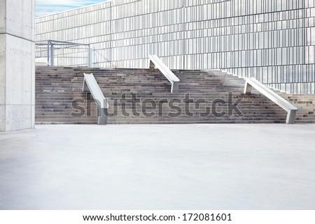 Modern outdoor concrete space - stock photo