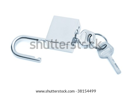 modern padlock with keys on a white background