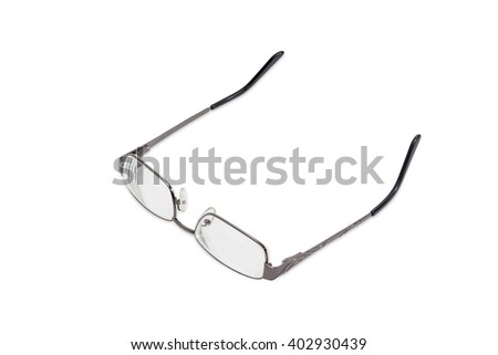 Modern pair of women's eyeglasses with single vision lenses and metal frame on a light background