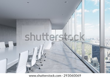 Modern panoramic conference room. A white rectangular table and chairs around it. Manhattan view, New York City. 3D rendering - stock photo