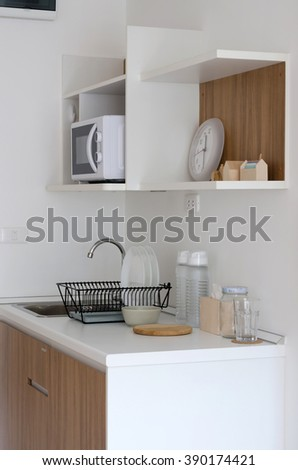 Modern pantry with utensil in apartment
