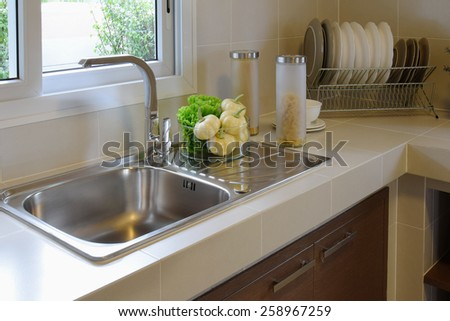 modern pantry with utensil in kitchen - stock photo
