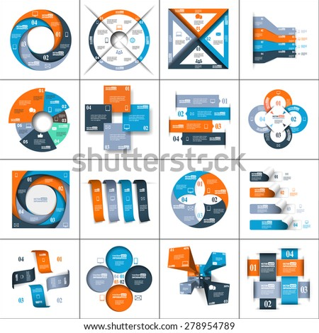 Modern paper infographics set for e-business, diagrams, charts, web sites, mobile applications, banners, corporate brochures, book covers, presentations etc. Raster copy of vector illustration - stock photo