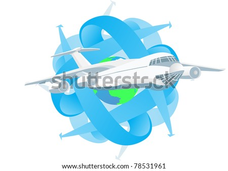 Modern passenger airliner in the background of the Globe and abstract images of arrows pointing different directions. - stock photo