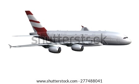 Modern Passenger airplane isolated on white background - stock photo